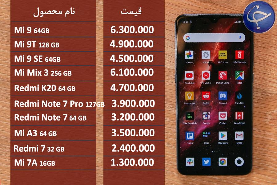 قیمت موبایل شیائومی