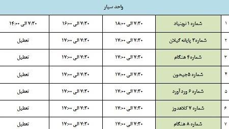 ساعت کاری مراکز معاینه فنی شهر تهران